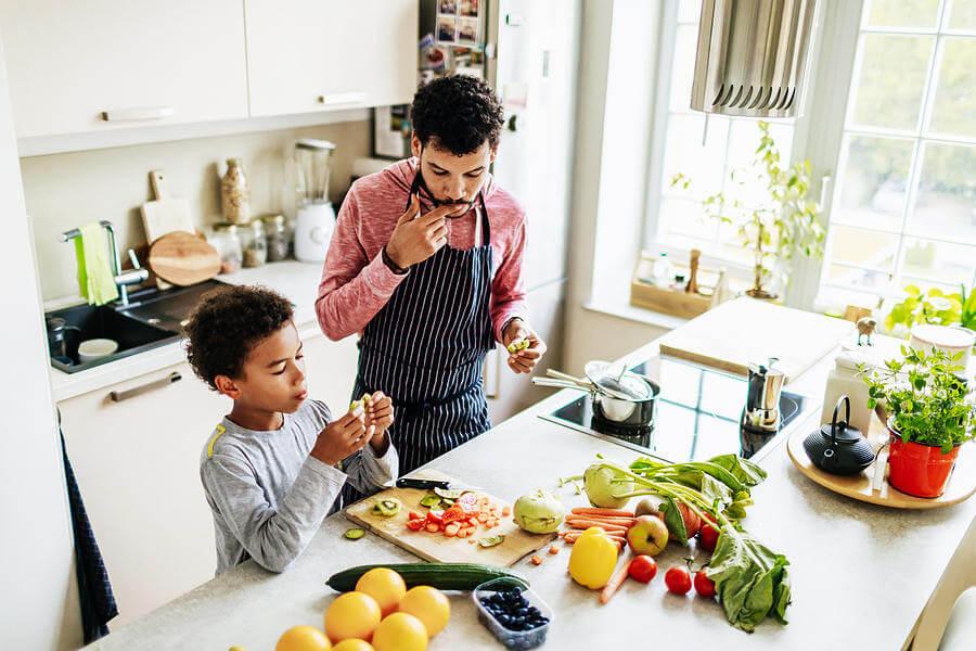 άντρας, αγόρι, κουζίνα